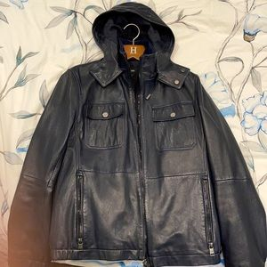 Boss leather jacket with hoody - like new !!